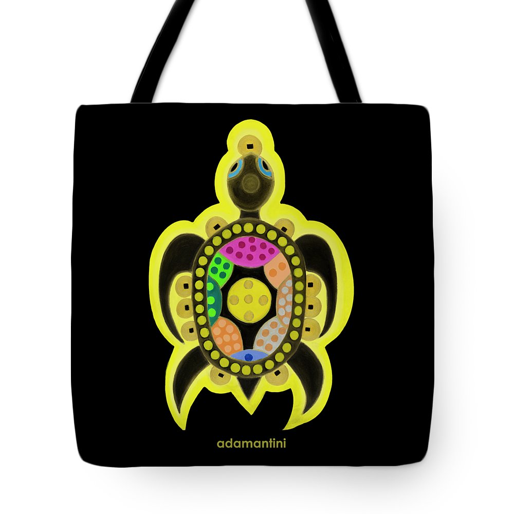 Celestial Black Turtle Tote Bag featuring the painting Celestial black turtle by Adamantini Feng shui