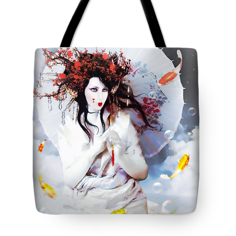 Celestial Koi Tote Bag featuring the digital art Celestial Koi Geisha by Shanina Conway