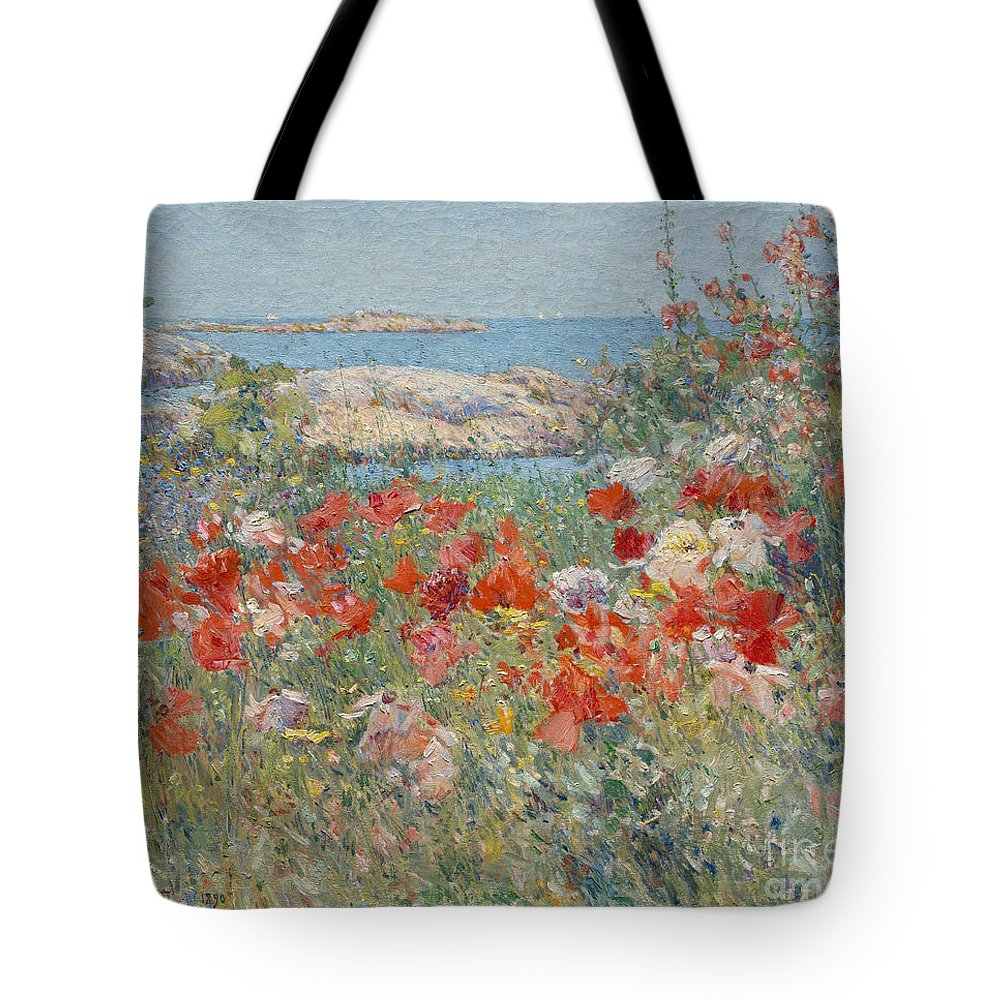 Childe Hassam Tote Bag featuring the painting Celia Thaxter's Garden, Isles Of Shoals, Maine, 1890 by Childe Hassam