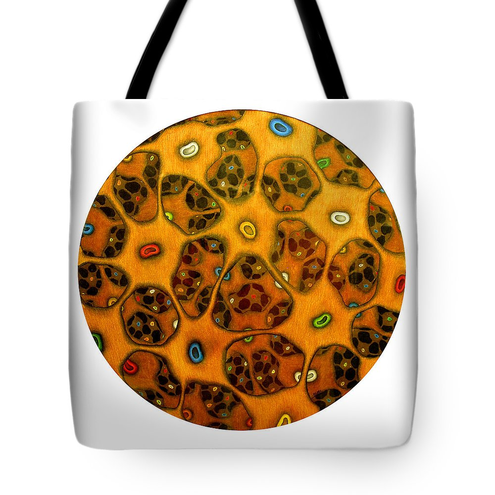 Cells Tote Bag featuring the drawing Cell Network by Nancy Mueller