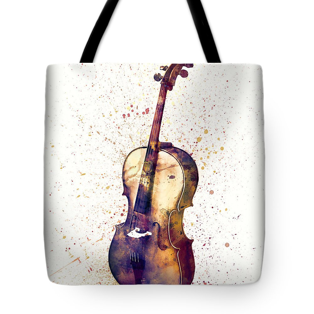 Cello Tote Bag featuring the digital art Cello Abstract Watercolor by Michael Tompsett