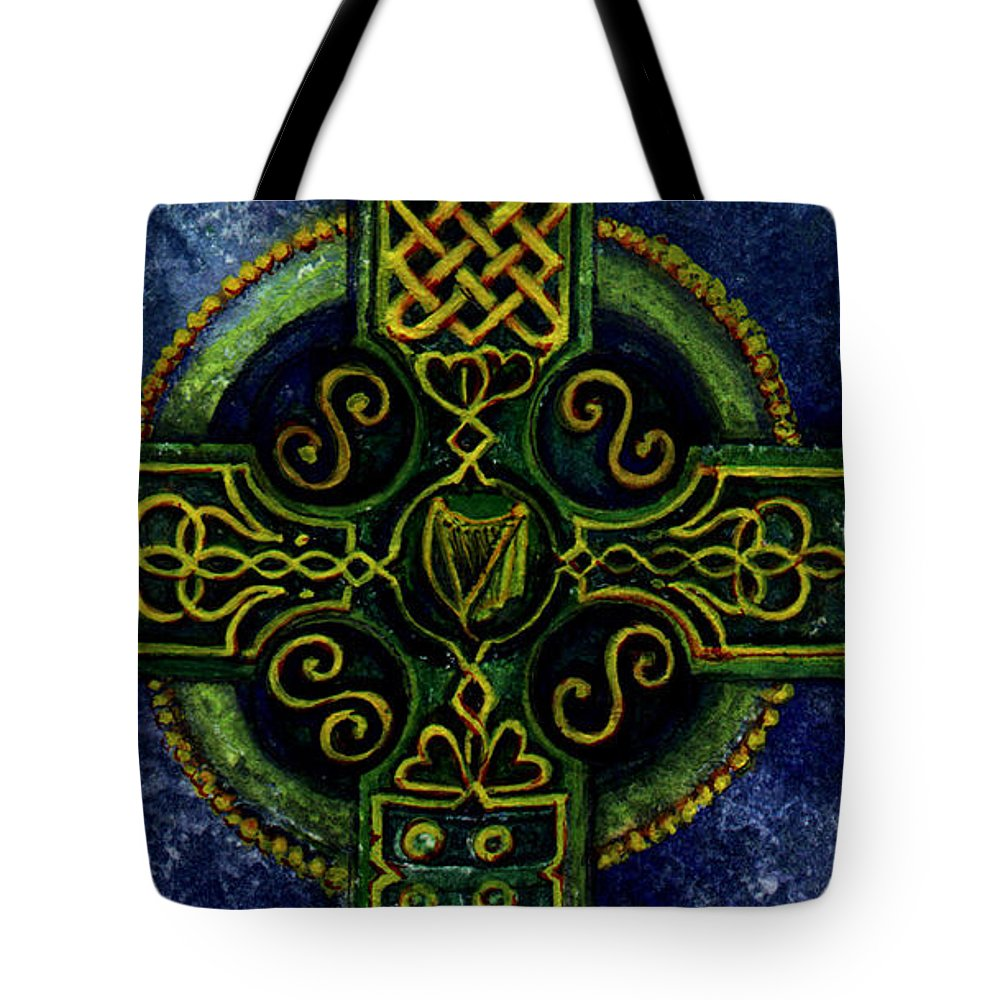 Elle Fagan Tote Bag featuring the painting Celtic Cross - Harp by Elle Smith Fagan