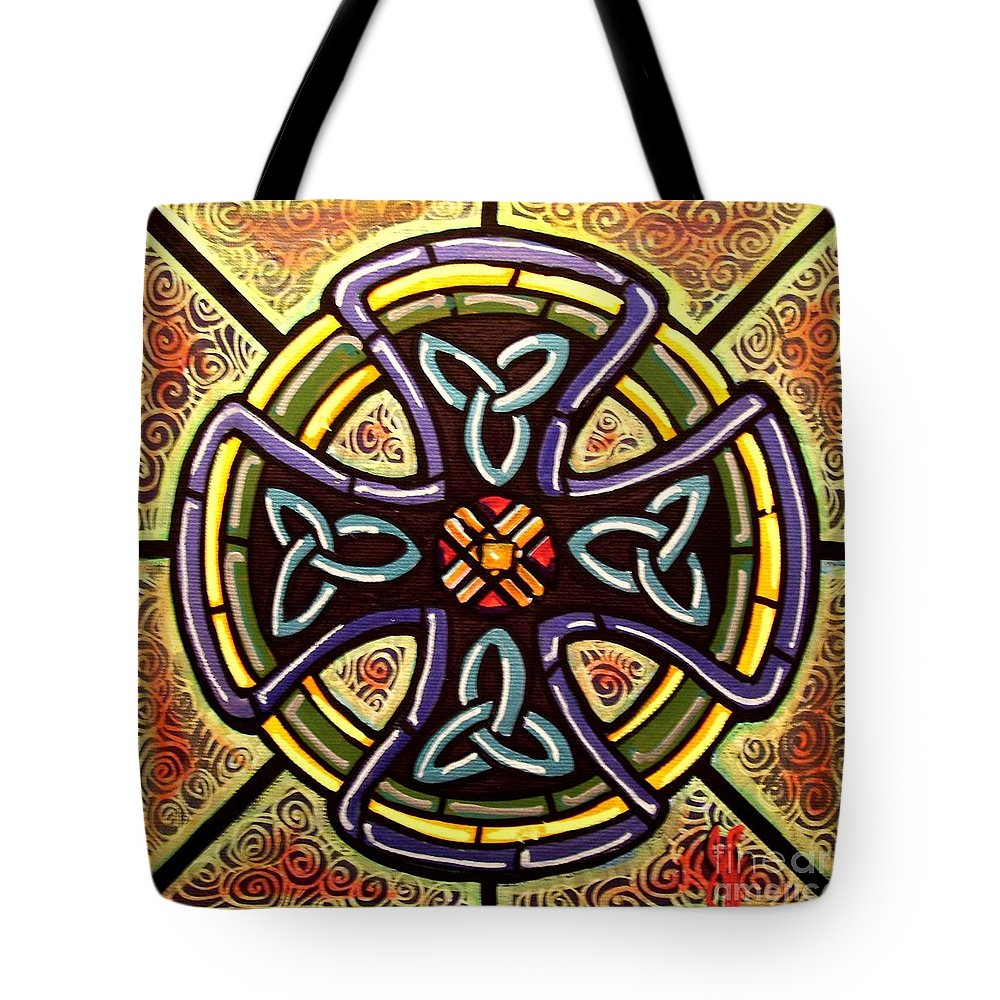Celtic Tote Bag featuring the painting Celtic Cross 2 by Jim Harris