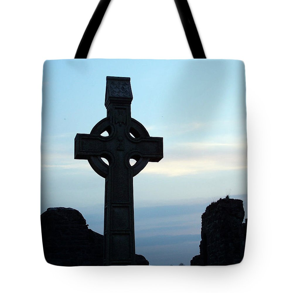 Irish Tote Bag featuring the photograph Celtic Cross At Sunset Donegal Ireland by Teresa Mucha