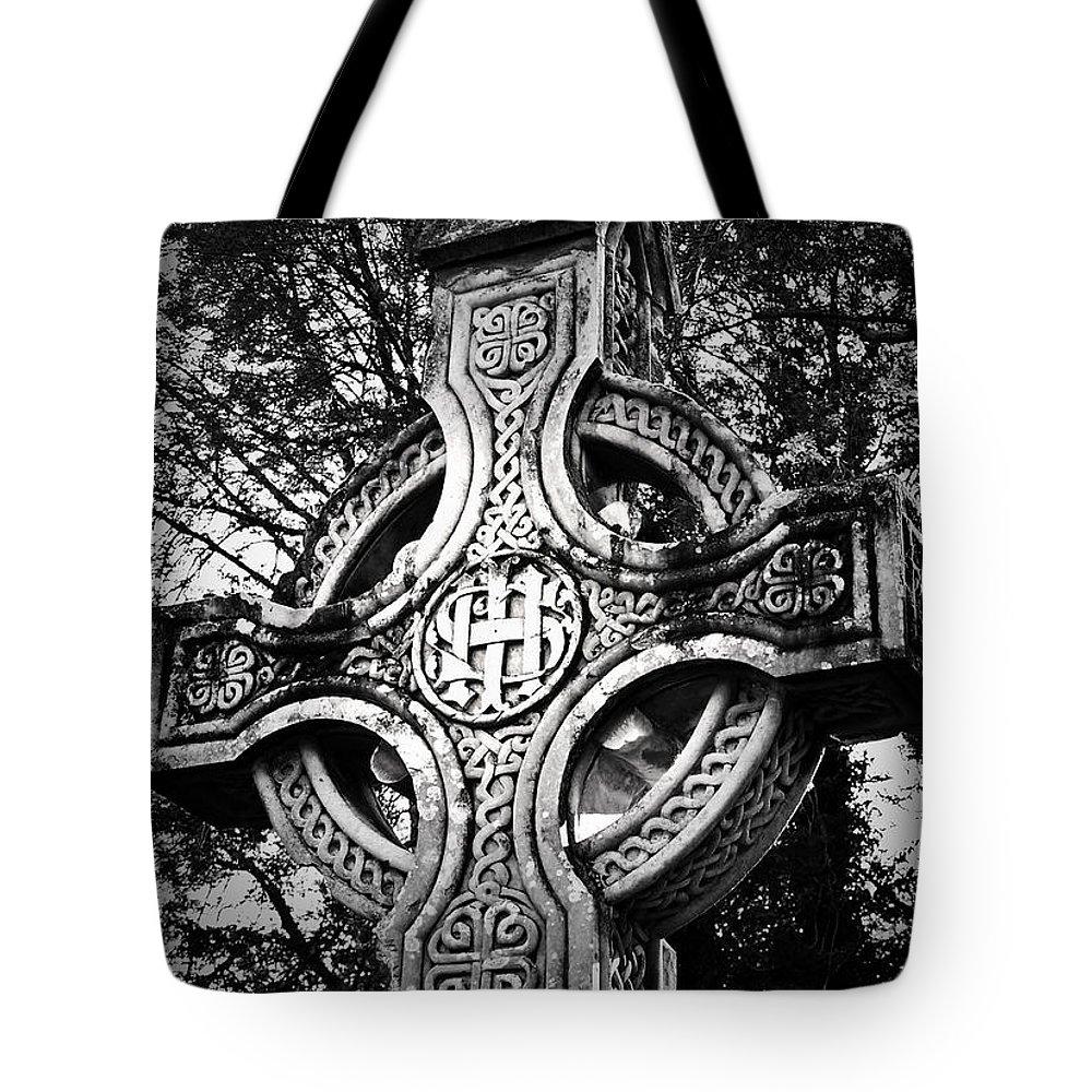 Irish Tote Bag featuring the photograph Celtic Cross Detail Killarney Ireland by Teresa Mucha