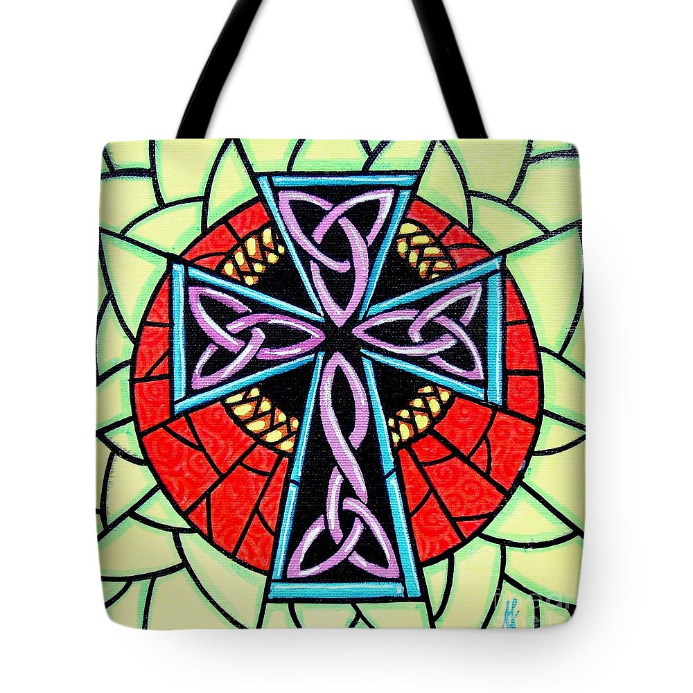 Celtic Tote Bag featuring the painting Celtic Cross by Jim Harris