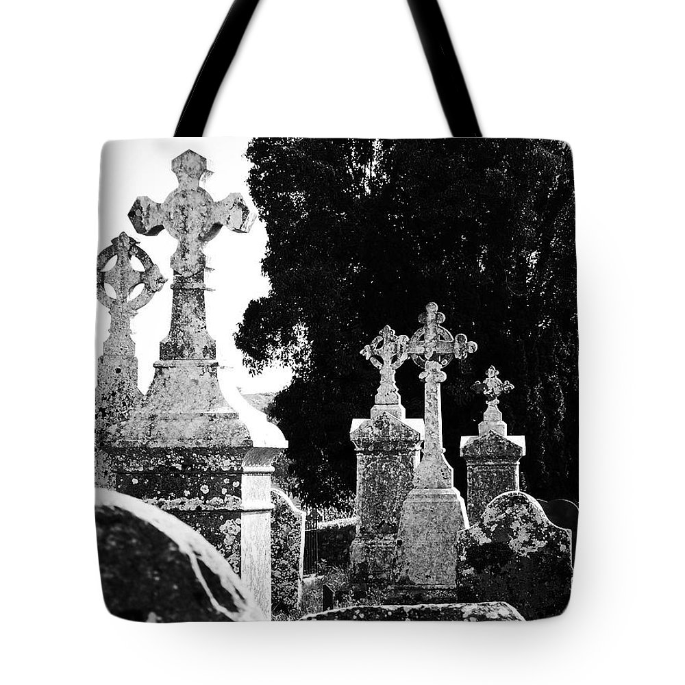 Celtic Tote Bag featuring the photograph Celtic Crosses At Fuerty Cemetery Roscommon Ireland by Teresa Mucha
