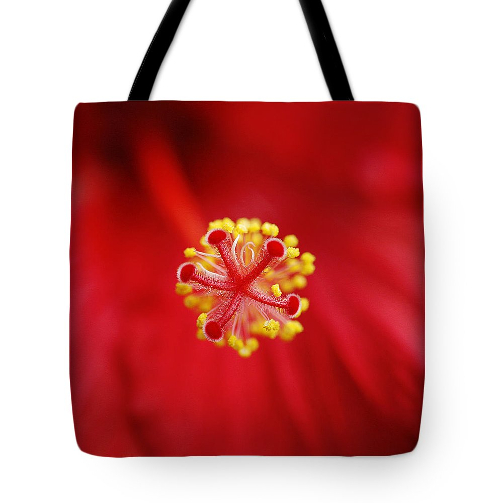 Flower Tote Bag featuring the photograph Center Of The Hibiscus Universe by Marilyn Hunt