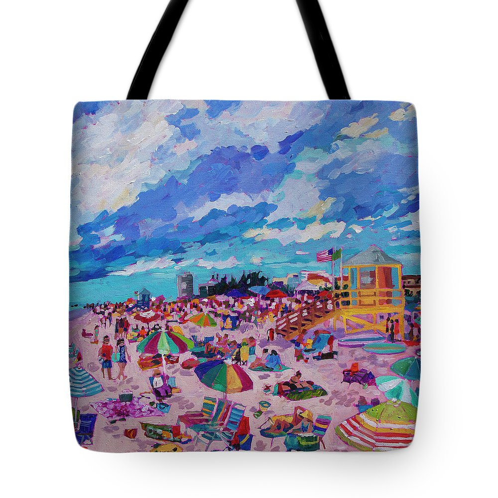 Siesta Key Beach Tote Bag featuring the painting Center Panel Of Triptych Busy Relaxing by Heather Nagy