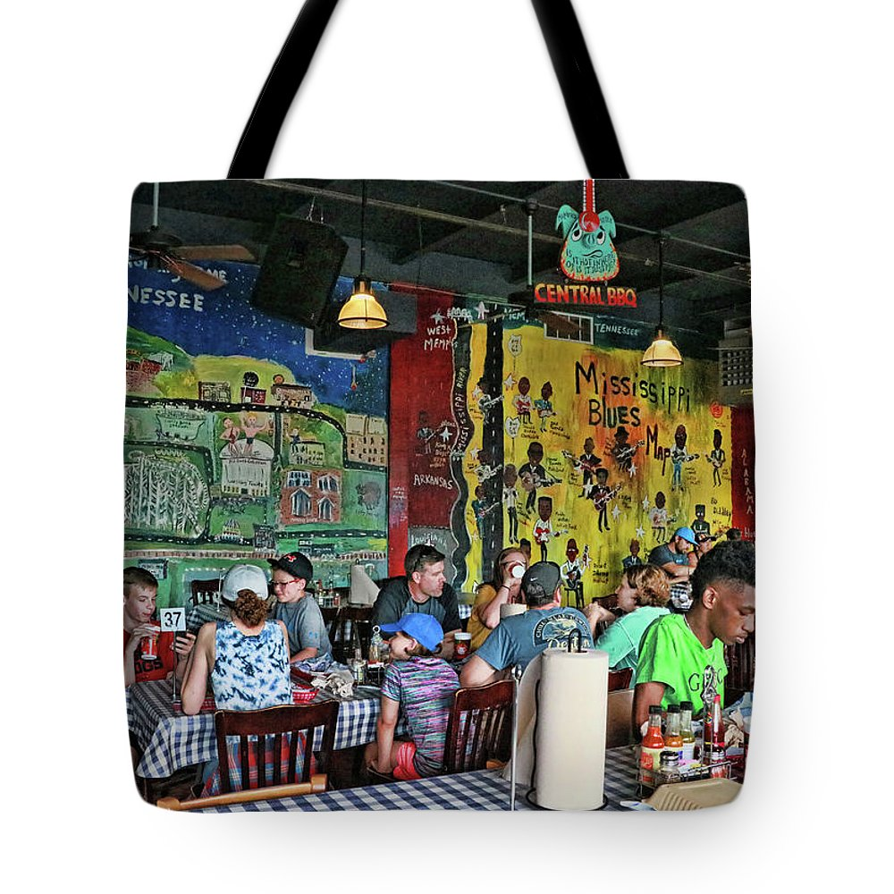 Central Tote Bag featuring the photograph Central B B Q # 2- Memphis by Allen Beatty