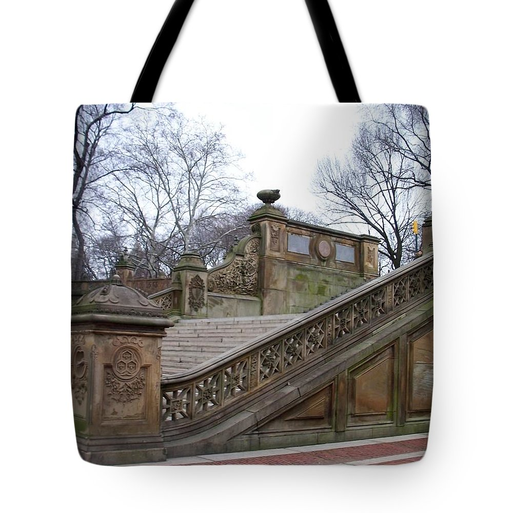 Central Park Tote Bag featuring the photograph Central Park Bethesda 1 by Anita Burgermeister