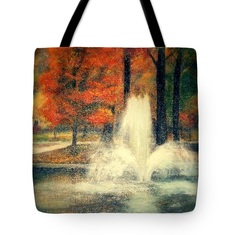 Pond Tote Bag featuring the painting Central Park In Autumn by Gail Kirtz