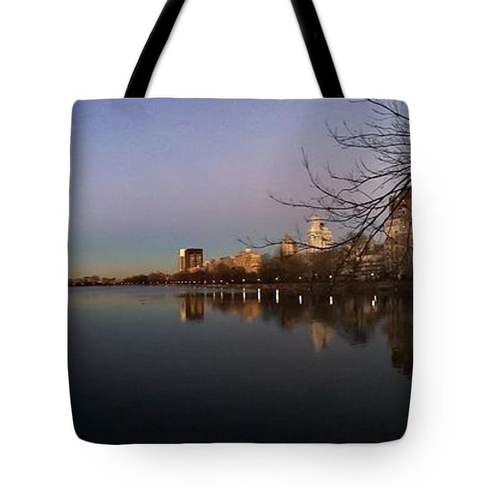 Central Park Tote Bag featuring the photograph Central Park Lake by Jose Benegas