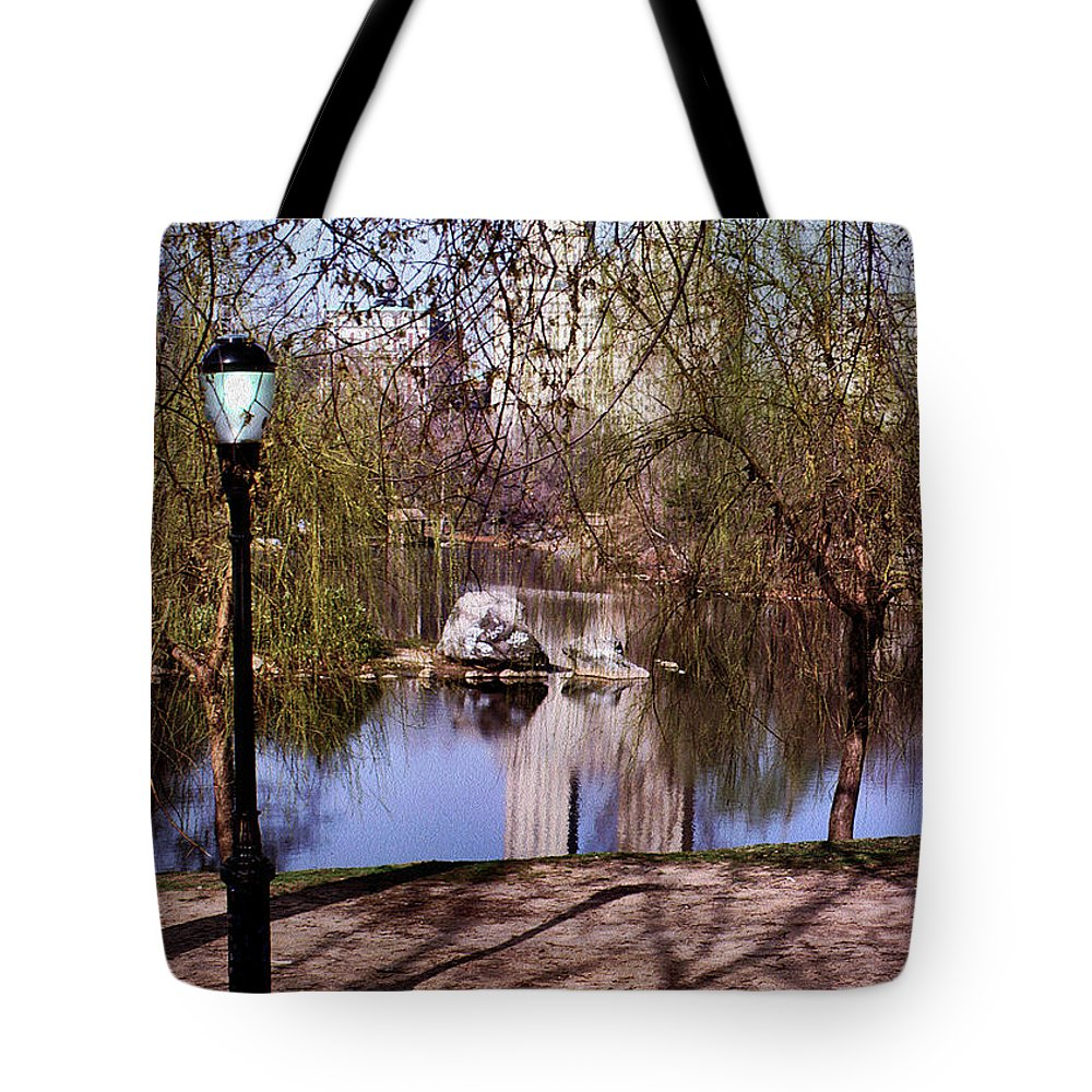 New York Central Park Tote Bag featuring the digital art Central Park Sidewalk by Anthony C Ellis