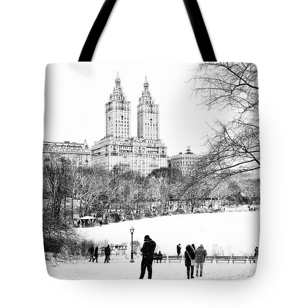 Central Park Lake Tote Bag featuring the photograph Central Park Snow Lakeside by Regina Geoghan