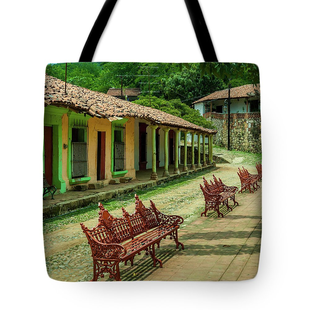 Landscape Tote Bag featuring the photograph Central Plaza In Copala by Javier Flores