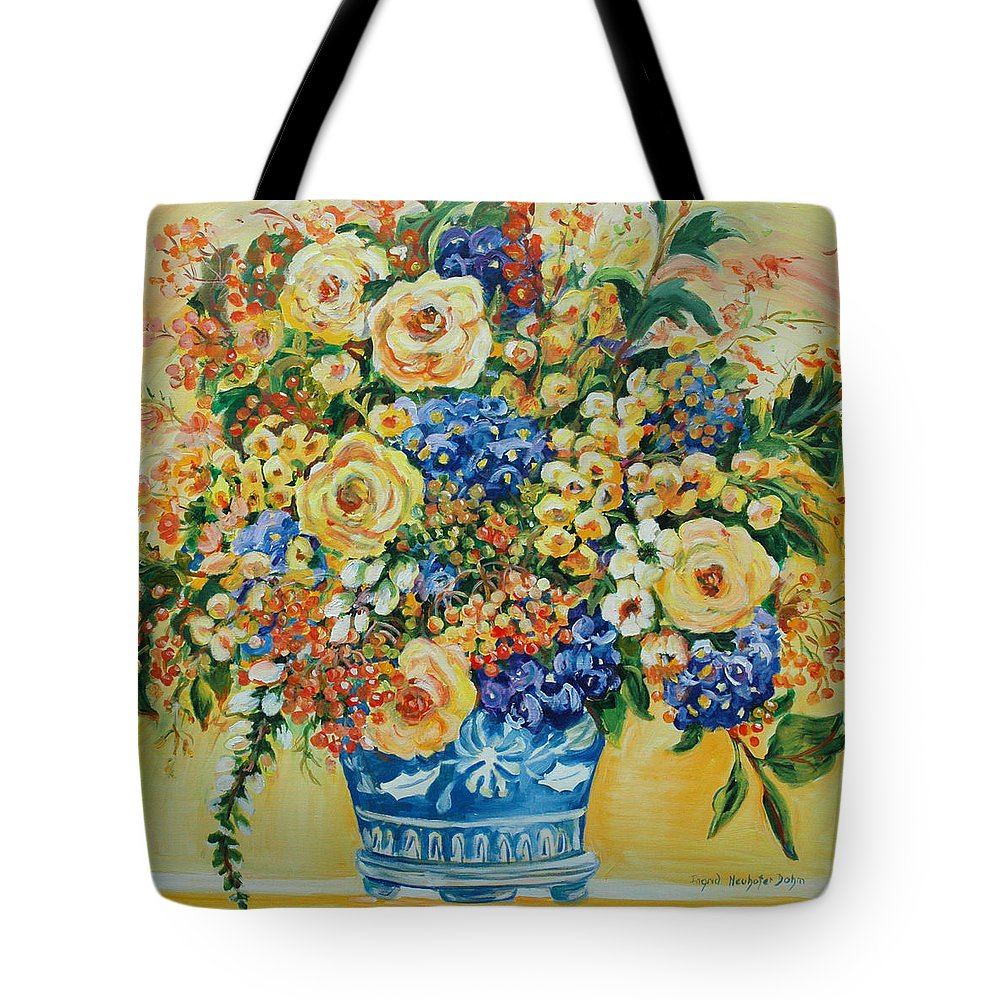 Florals Tote Bag featuring the painting Ceramic Blue by Ingrid Dohm