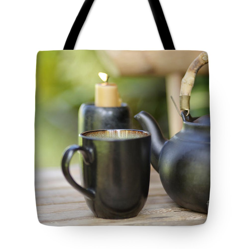 Allure Tote Bag featuring the photograph Ceramic Tea Set by Kicka Witte - Printscapes