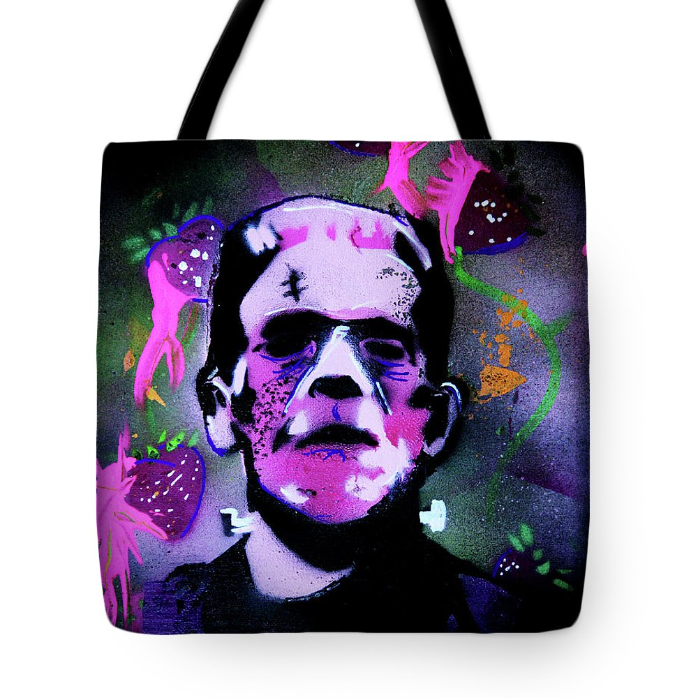 Cereal Killers Tote Bag featuring the painting Cereal Killers - Frankenberry by eVol i
