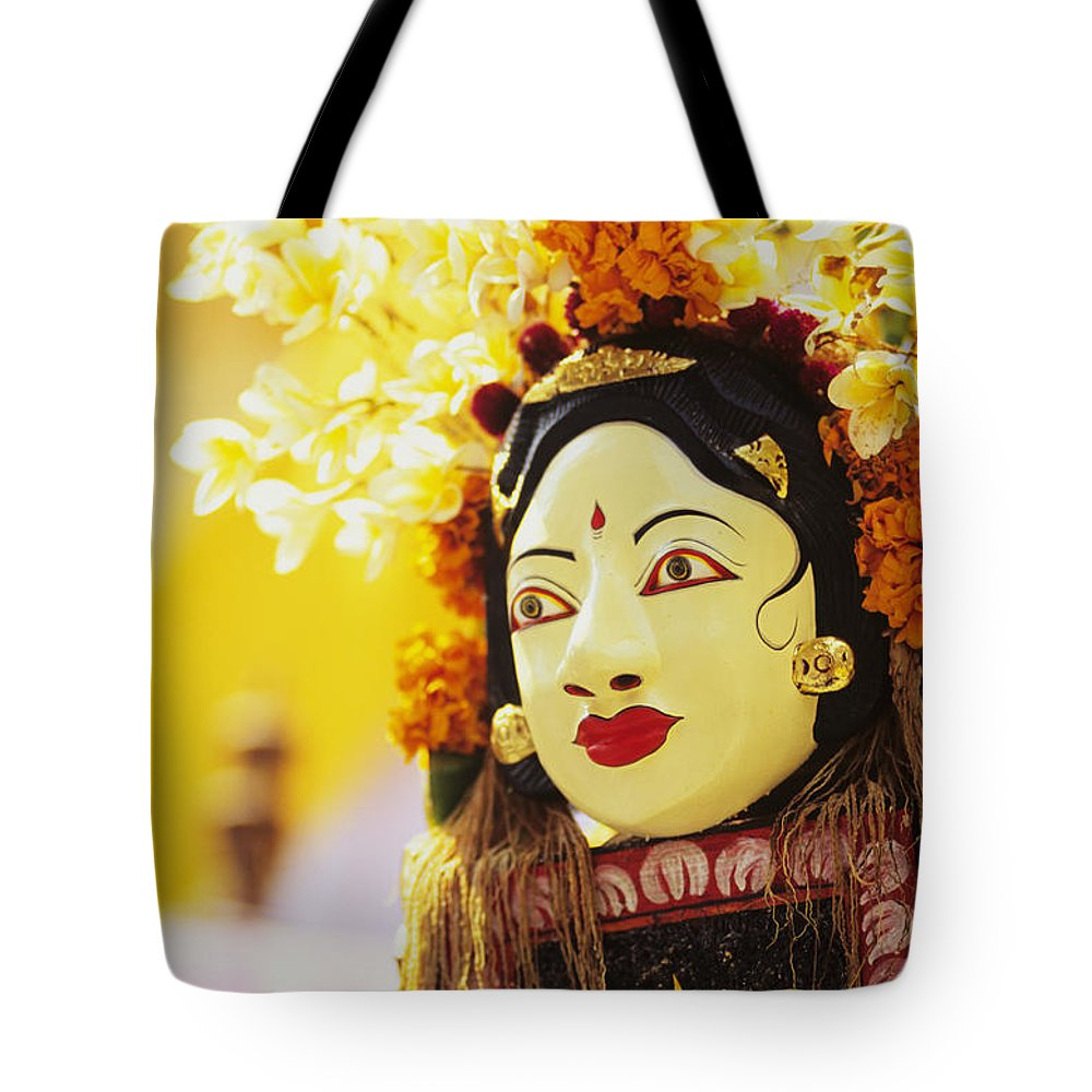 Asian Cultural Art Tote Bag featuring the photograph Ceremonial Mask by Dana Edmunds - Printscapes