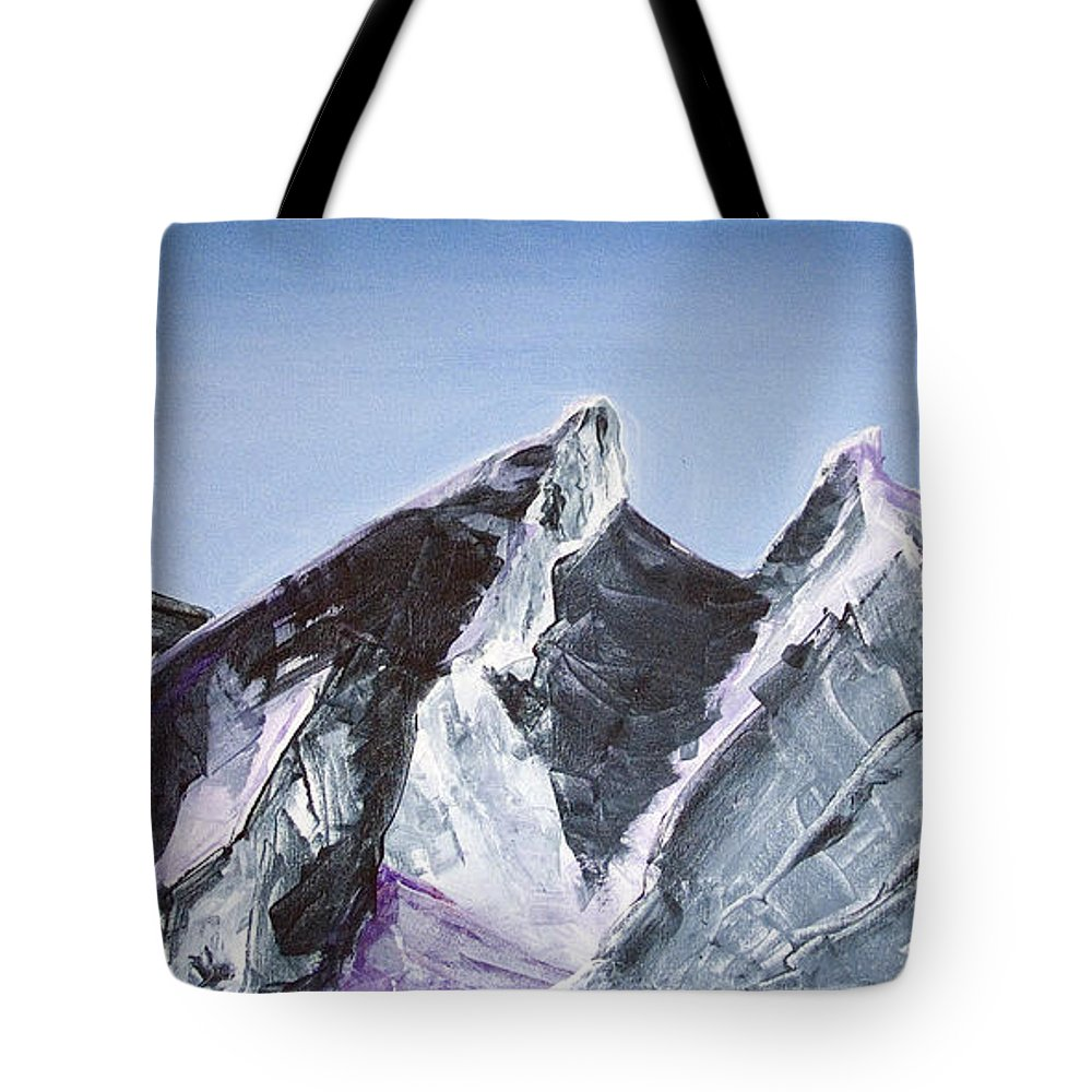 Acrylic Landscape Painting Tote Bag featuring the painting Cerro De La Silla Of Monterrey Mexico by Kandyce Waltensperger