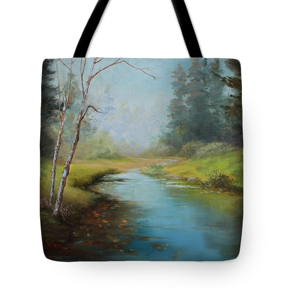 Judy Bradley Tote Bag featuring the painting Cerulean Blue Stream by Judy Bradley