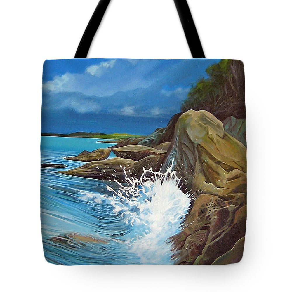 Ocean Tote Bag featuring the painting Cerulean by Hunter Jay