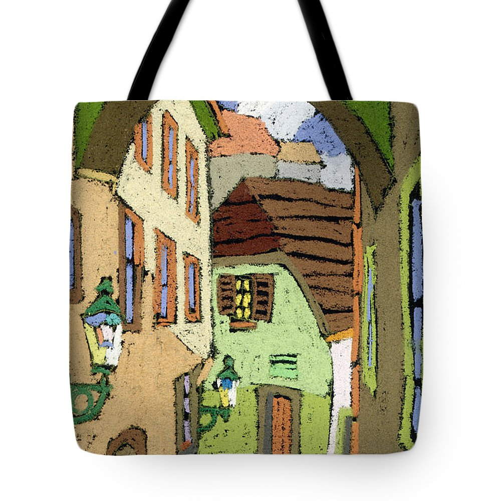 Pastel Tote Bag featuring the painting Cesky Krumlov Masna Street by Yuriy Shevchuk