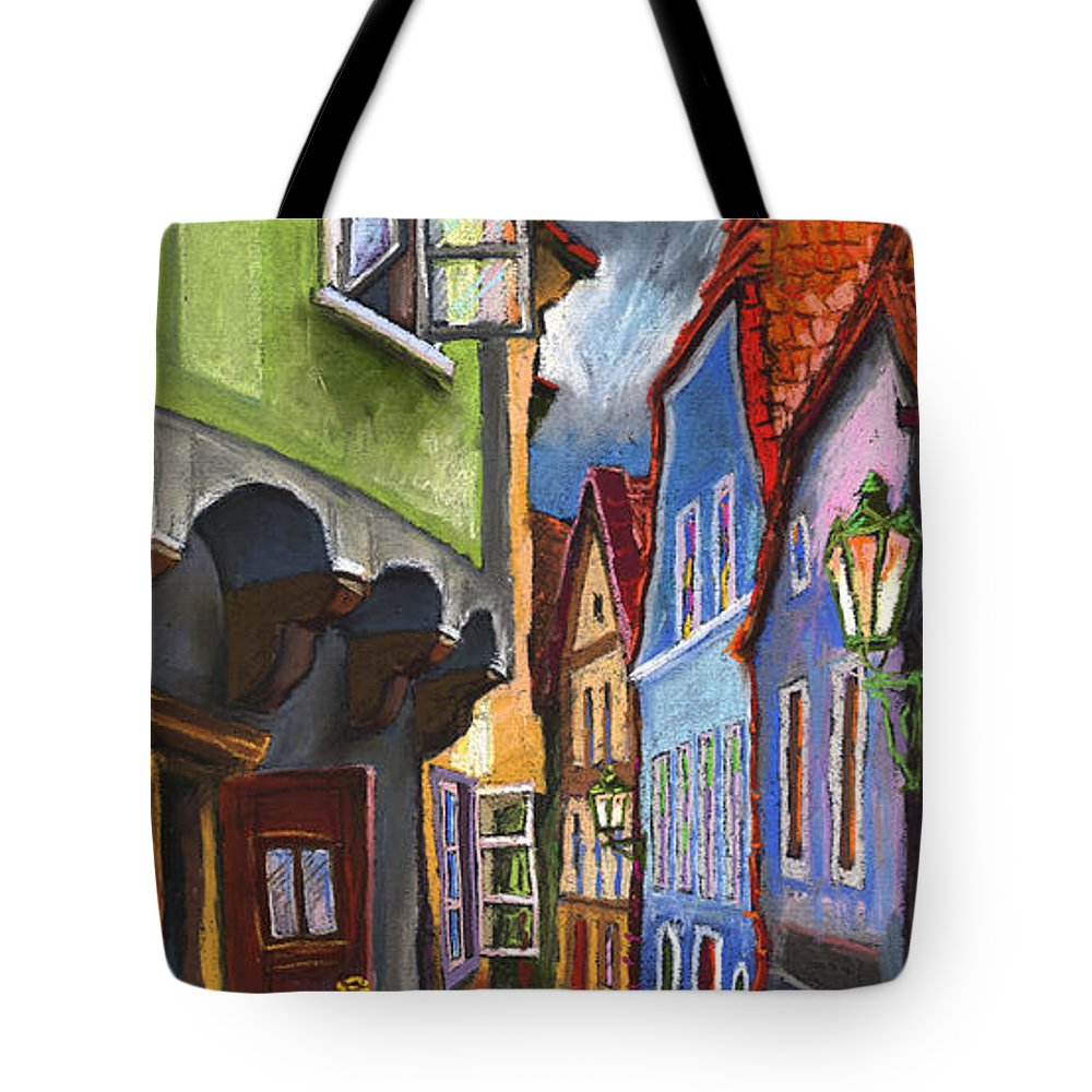 Pastel Chesky Krumlov Old Street Architectur Tote Bag featuring the painting Cesky Krumlov Old Street 1 by Yuriy Shevchuk