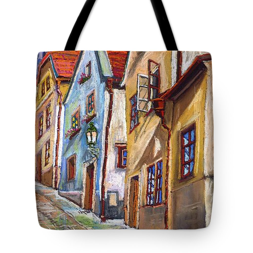 Pastel Chesky Krumlov Old Street Architectur Tote Bag featuring the painting Cesky Krumlov Old Street 2 by Yuriy Shevchuk