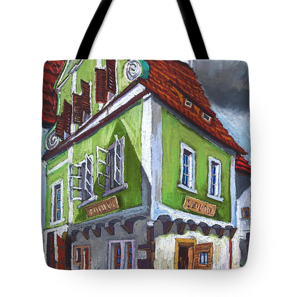 Pastel Chesky Krumlov Old Street Cityscape Realism Architectur Tote Bag featuring the painting Cesky Krumlov Old Street 3 by Yuriy Shevchuk