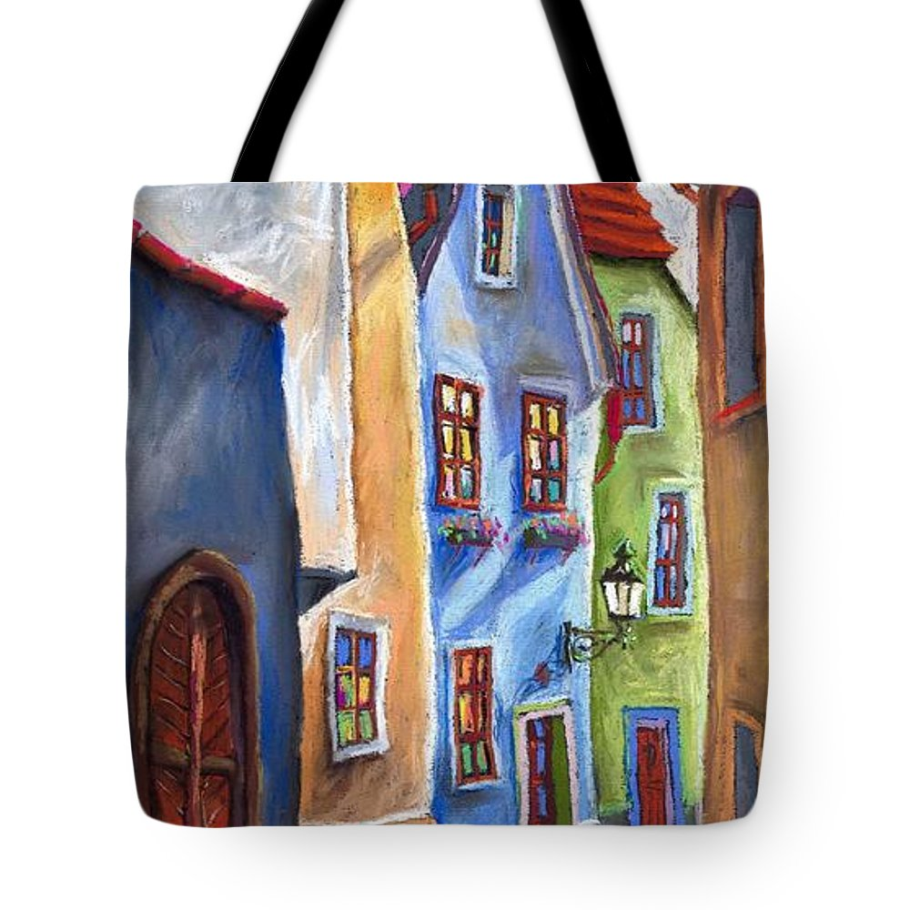 Cityscape Tote Bag featuring the painting Cesky Krumlov Old Street by Yuriy Shevchuk
