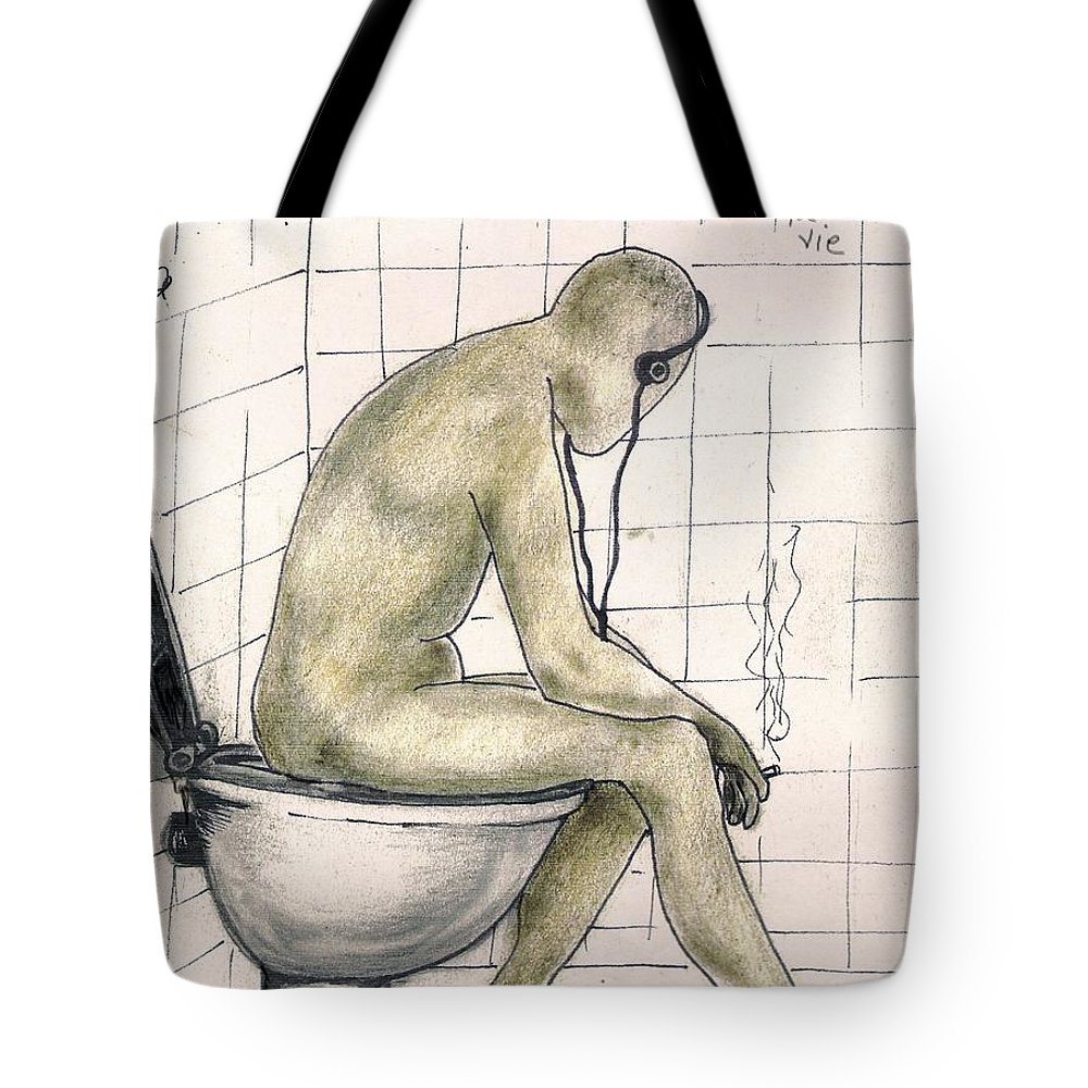 Life Naked Music Tote Bag featuring the drawing C'est La Vie by Veronica Jackson