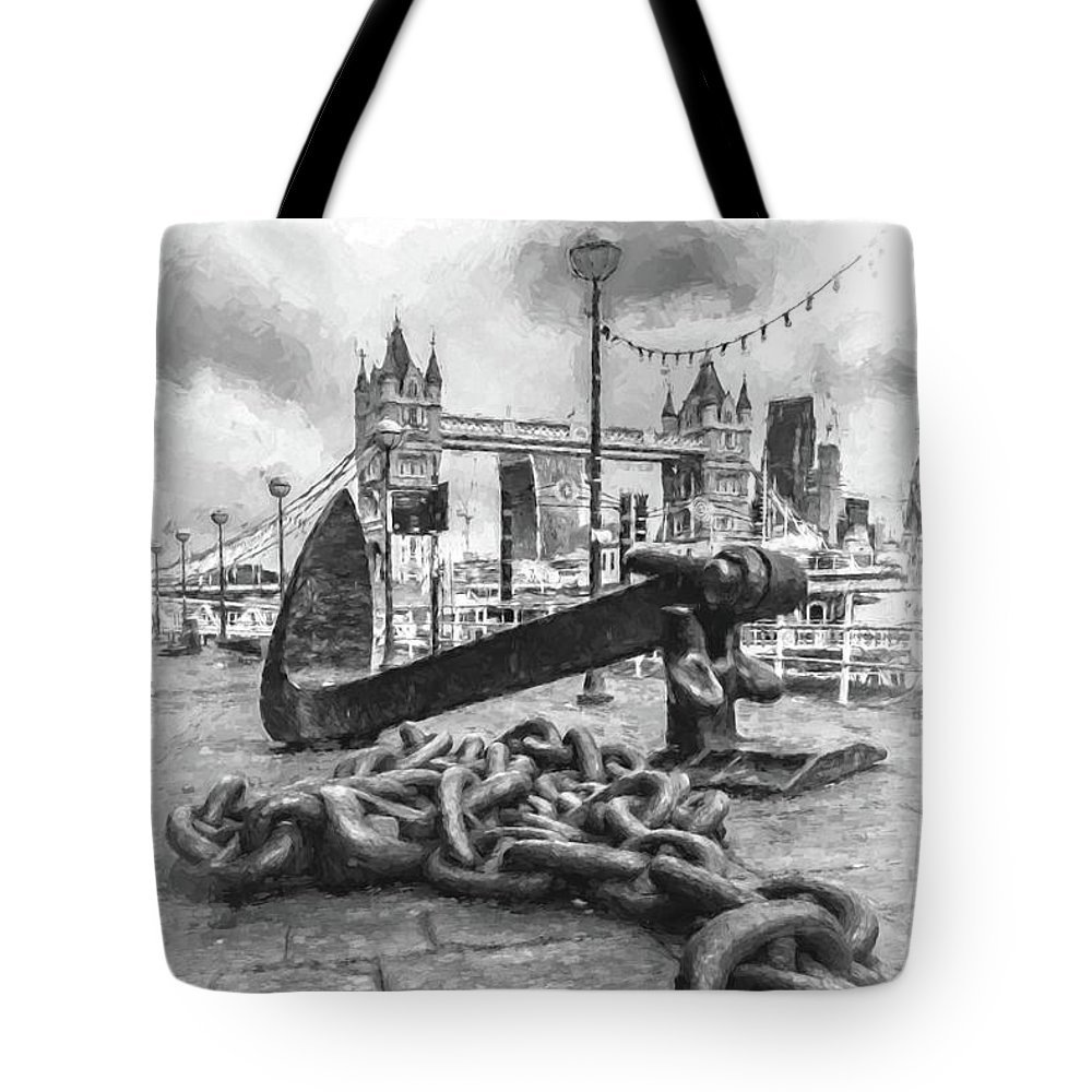 Architecture Tote Bag featuring the digital art Chain And Anchor, Southwark by Howard Ferrier