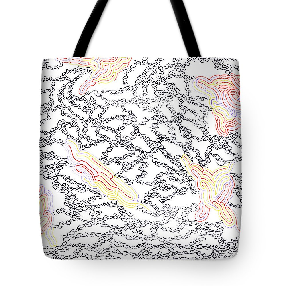 Mazes Tote Bag featuring the drawing Chained by Steven Natanson