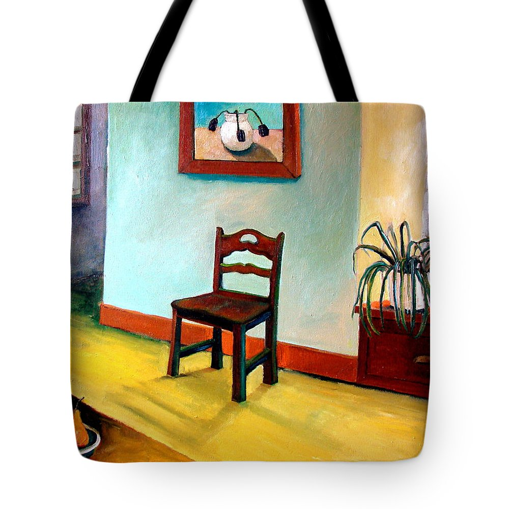 Apartment Tote Bag featuring the painting Chair And Pears Interior by Michelle Calkins