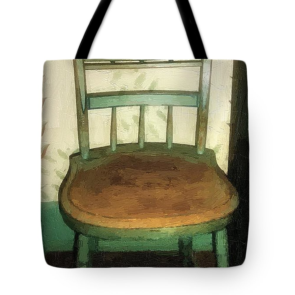 Antique Tote Bag featuring the painting Chair In Isolated Corner by RC DeWinter