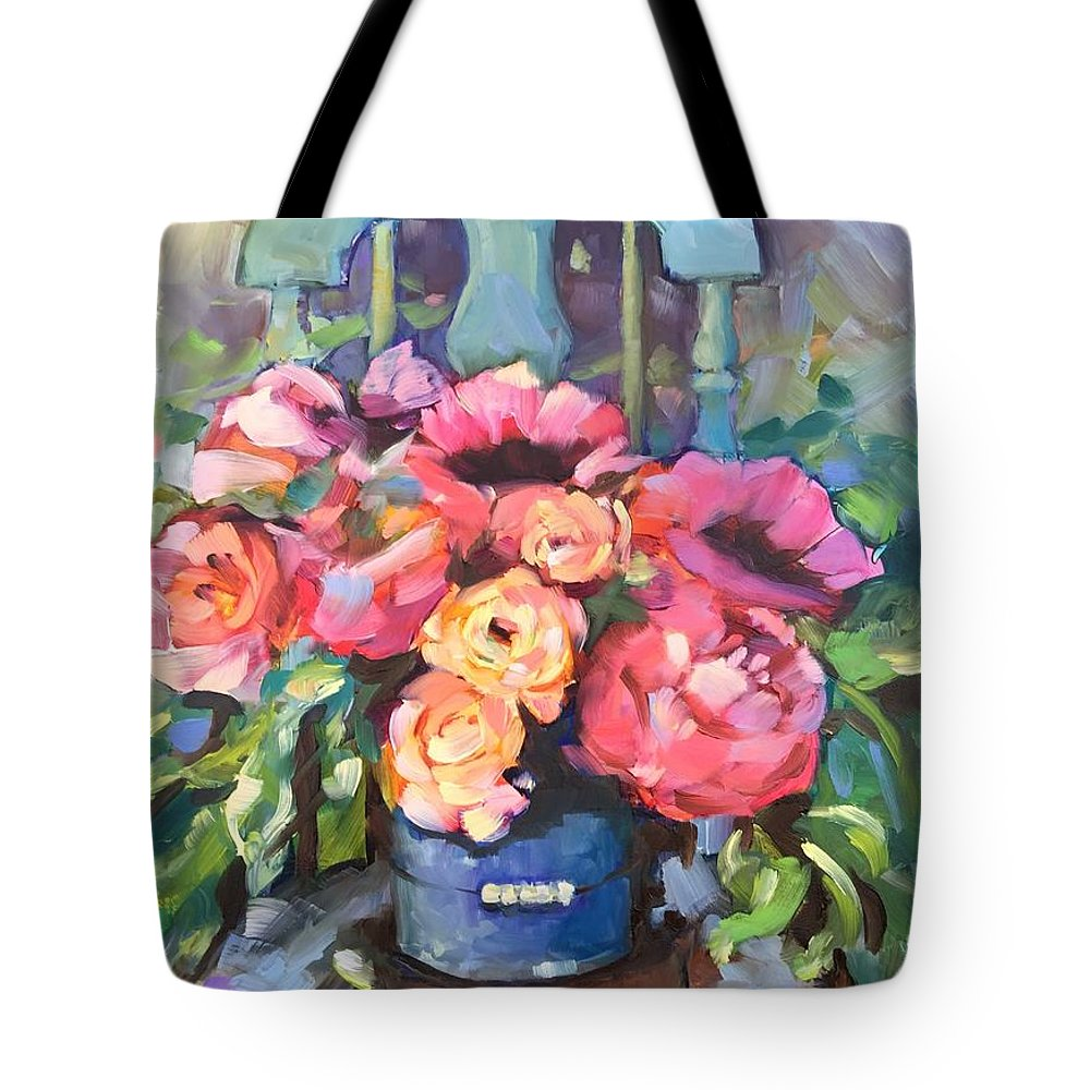 Antique Chair Tote Bag featuring the painting Chair With Flowers by Rebecca Matthews