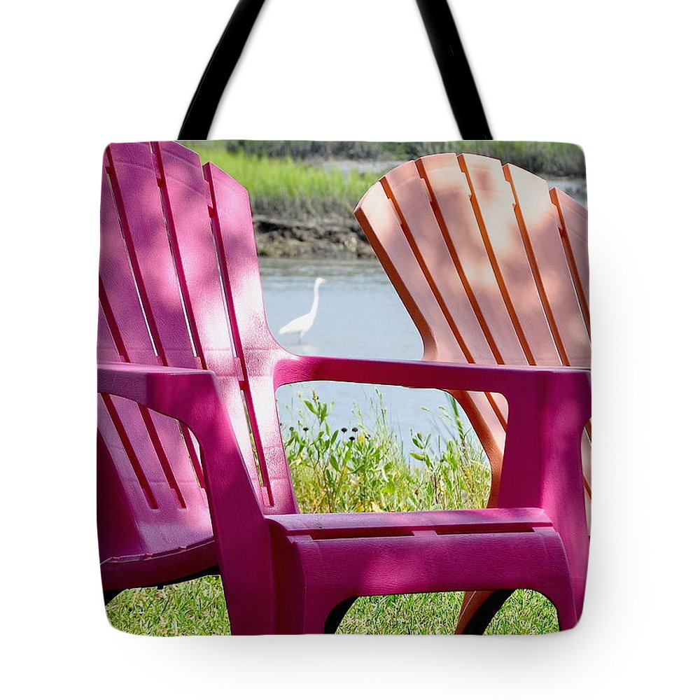 Adirondack Tote Bag featuring the photograph Chairs And Egret by Wayne Marsh