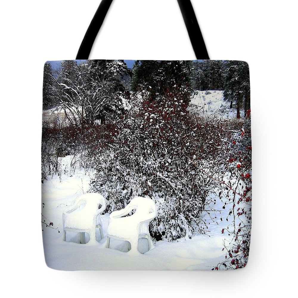 Winter Tote Bag featuring the photograph Chairs For Two by Will Borden