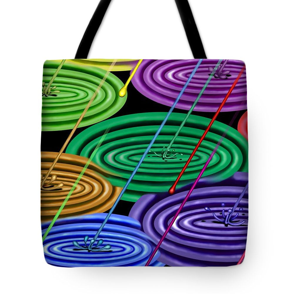 Surrealism Tote Bag featuring the digital art Chakra Shower I by Robert Morin