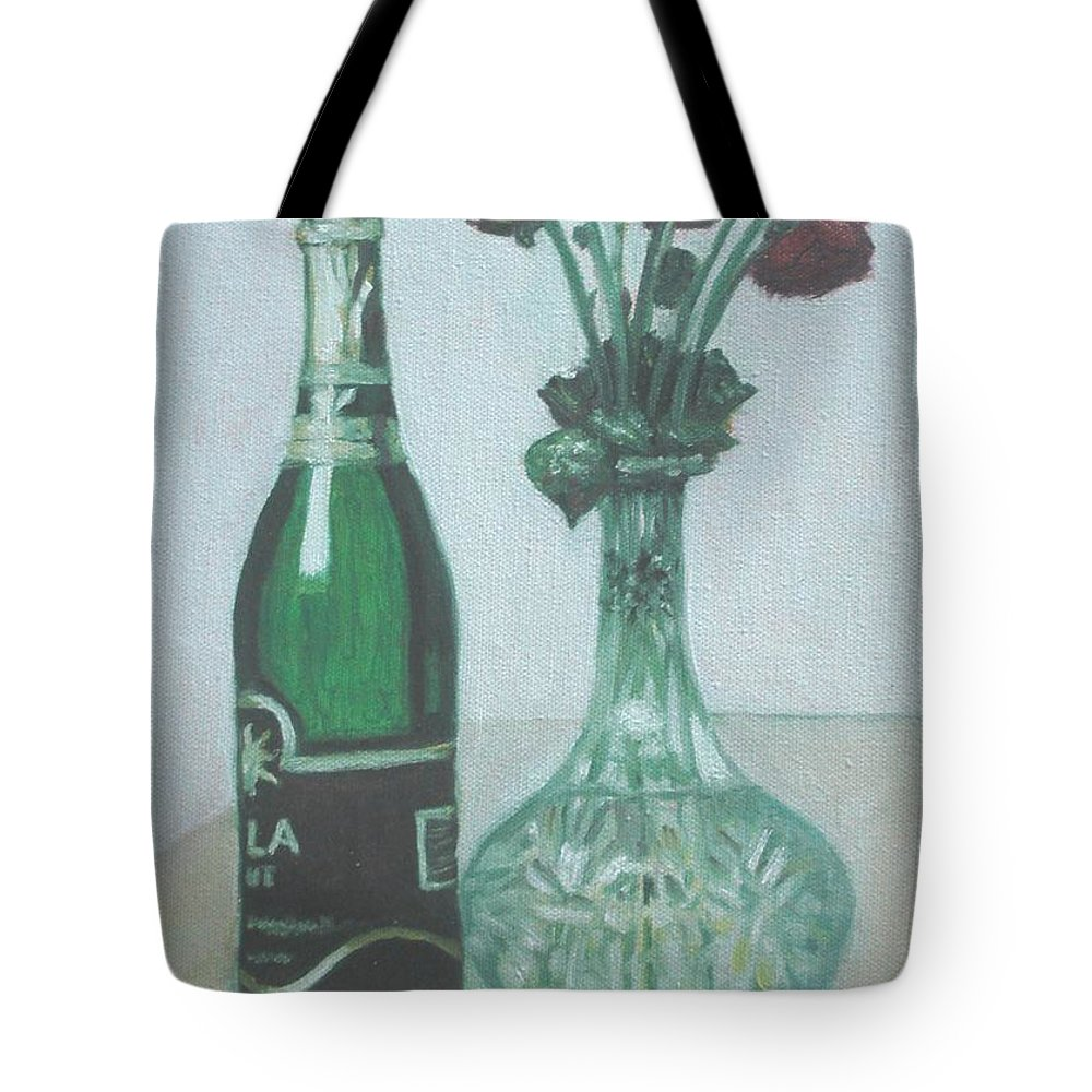 Champagne Tote Bag featuring the painting Champagne And Roses by Usha Shantharam