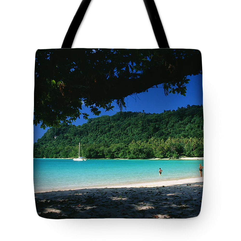 Aqua Tote Bag featuring the photograph Champagne Beach by Peter Stone - Printscapes
