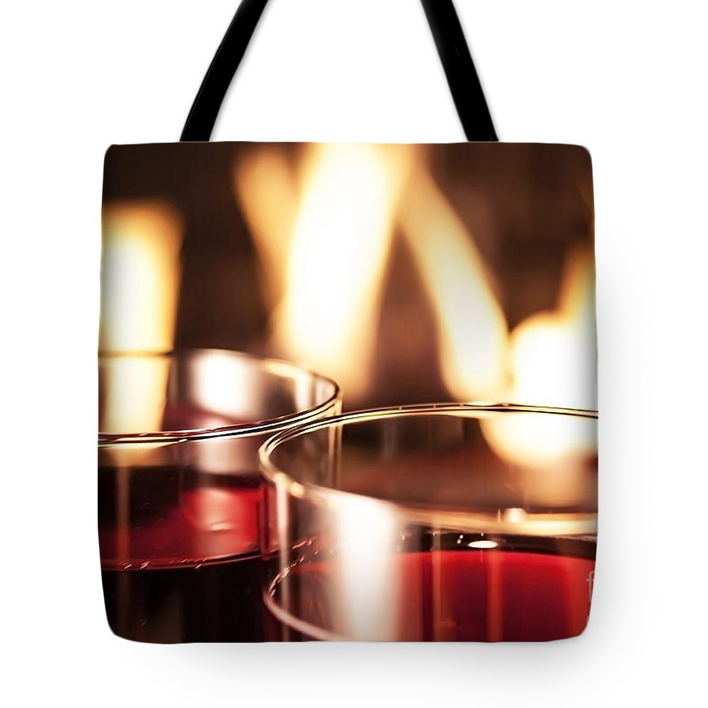 Wine Tote Bag featuring the photograph Champagne Glasses by Sebastien Coell