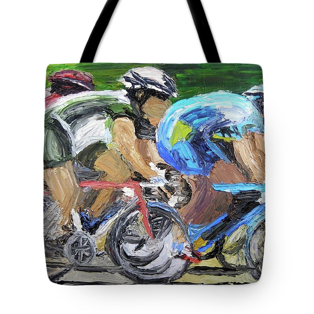 Bike Racing Tote Bag featuring the painting Champions Peddling To Victory by Michael Lee