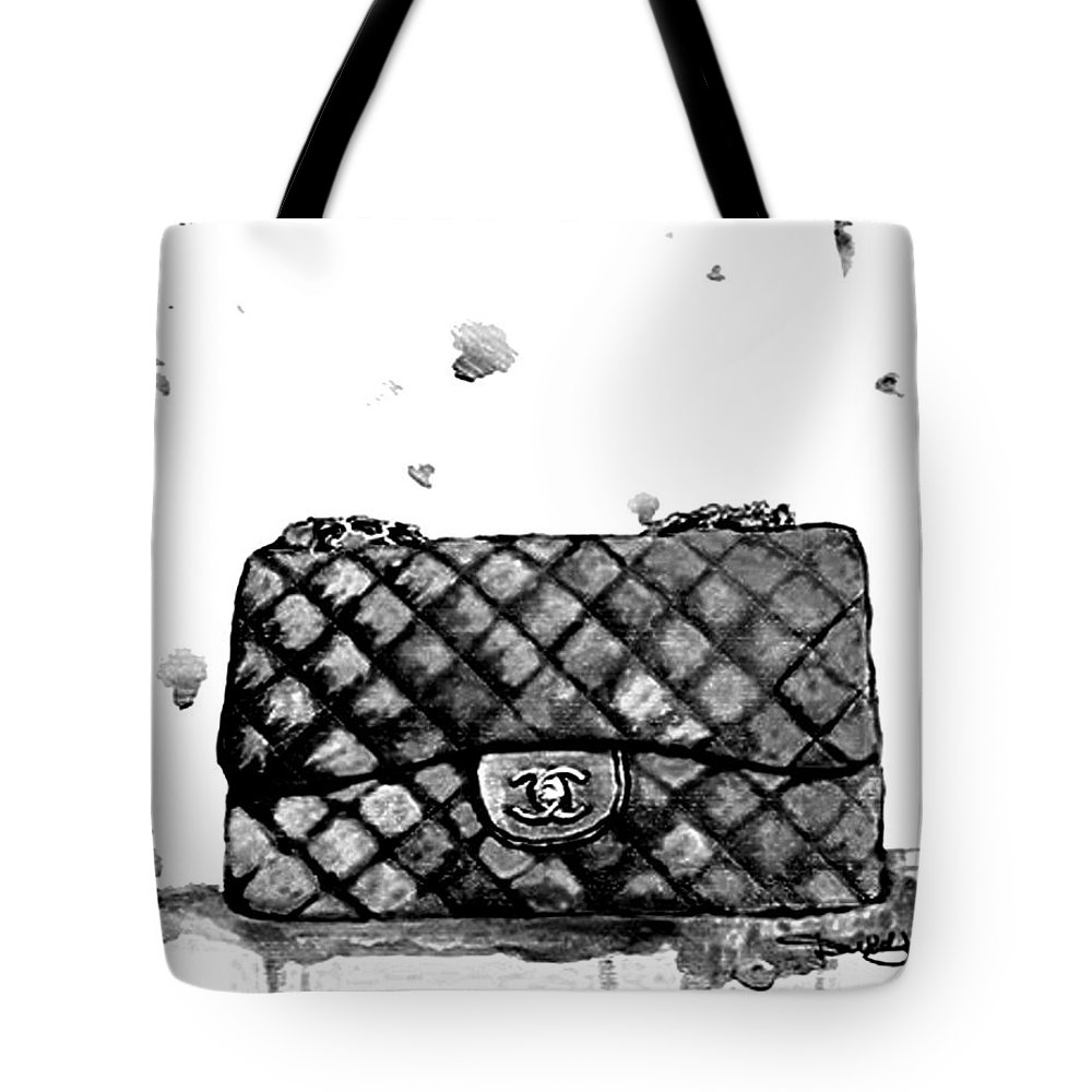 0e96406873b7 Chanel Bag Tote Bag featuring the painting Chanel Bag With Dripping by Del  Art