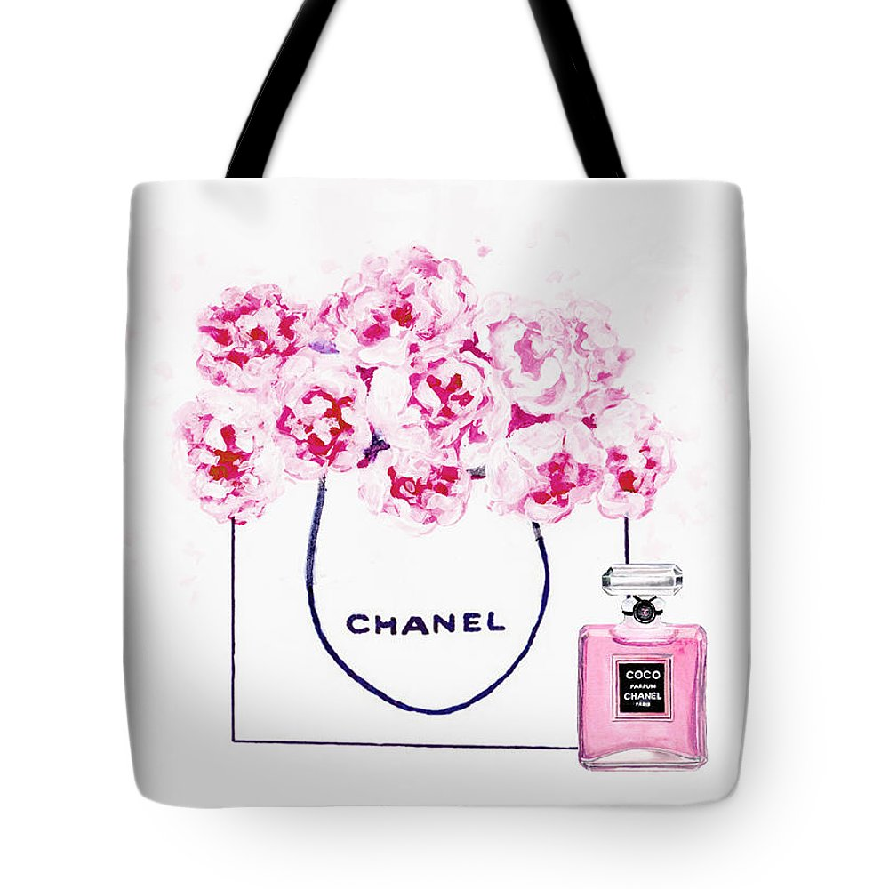 f0c6f4fa60cd Chanel Poster Tote Bag featuring the painting Chanel Bag With Pink Peonys  by Del Art