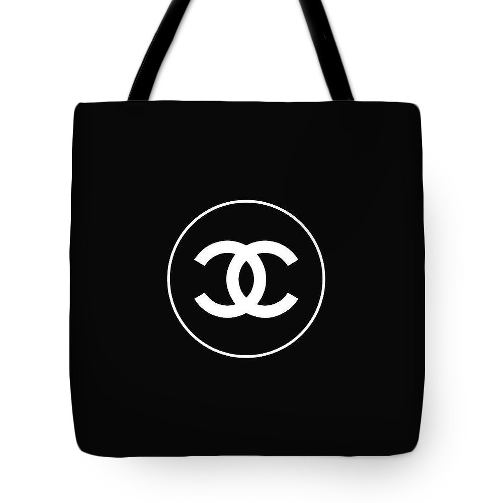 Chanel logo tote bag featuring the digital art chanel black and white 02 lifestyle