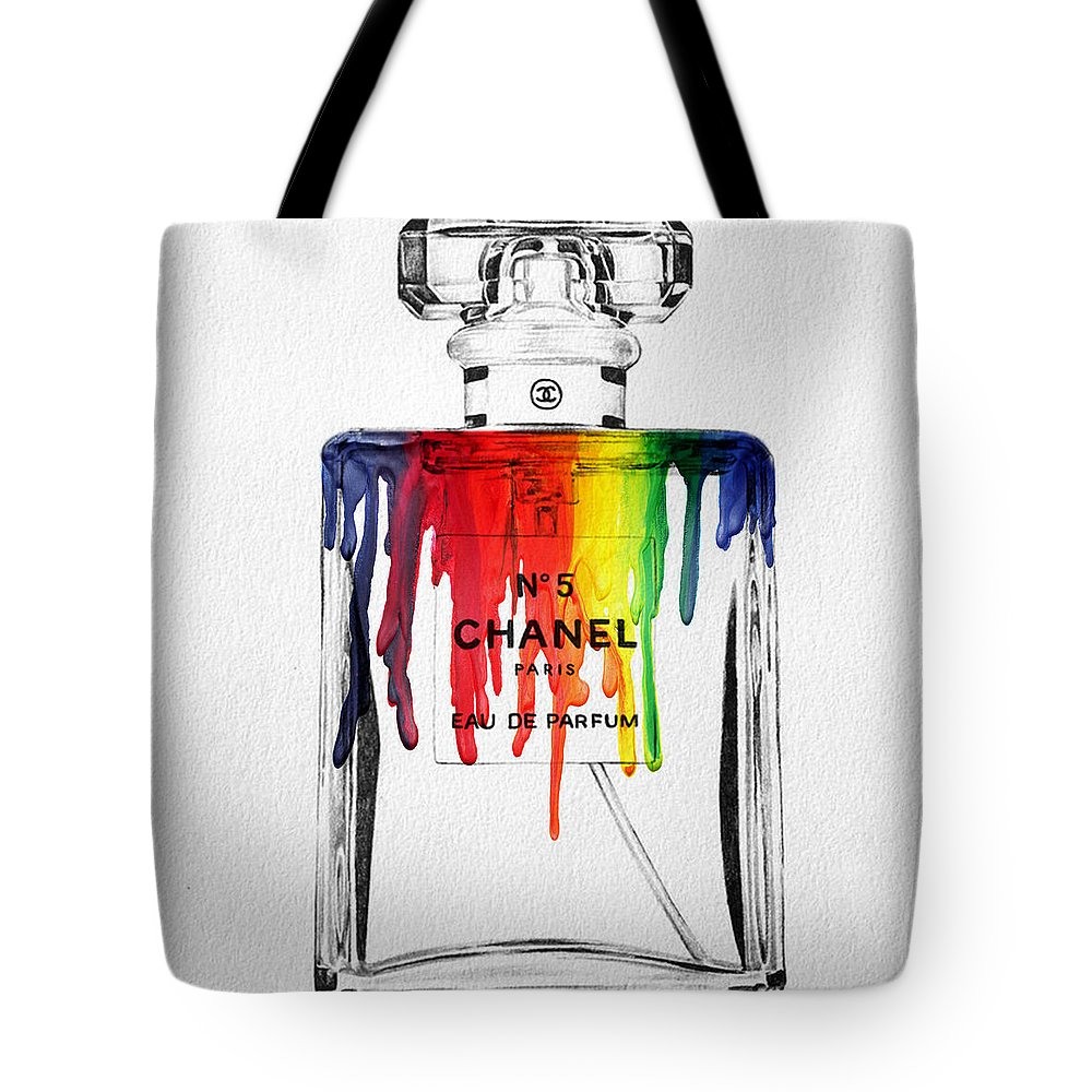 Bottle Tote Bag featuring the painting Chanel by Mark Ashkenazi