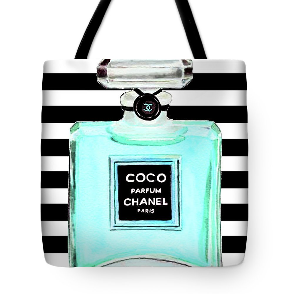 Chanel Print Tote Bag featuring the painting Chanel Perfume Turquoise Chanel Poster Chanel Print by Del Art